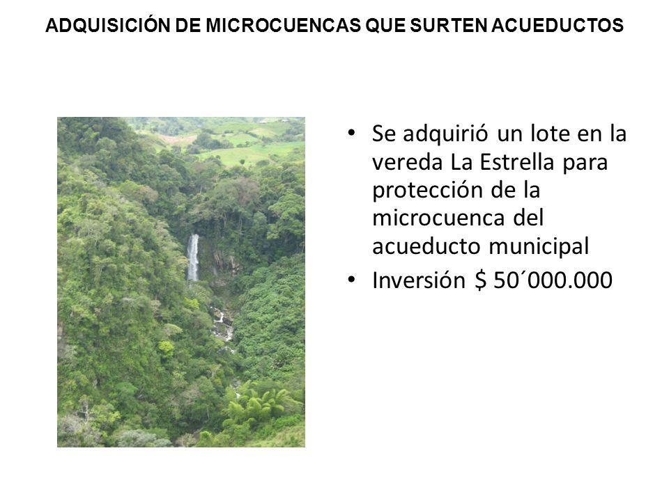 ADQUISICIÓN DE MICROCUENCAS QUE SURTEN ACUEDUCTOS Se adquirió un lote en la vereda La Estrella para protección de la microcuenca del acueducto municipal Inversión $ 50´000.000