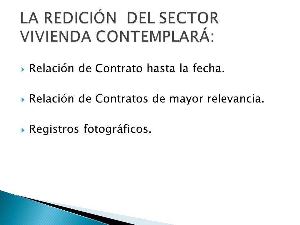 Relación de Contrato hasta la fecha. Relación de Contratos de mayor relevancia.