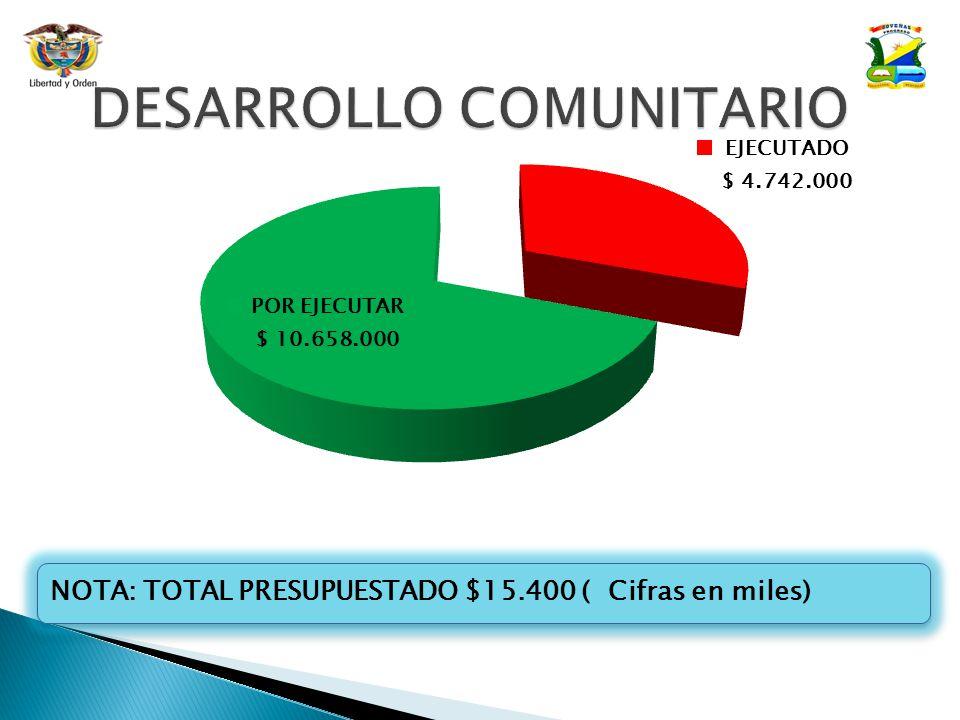 NOTA: TOTAL PRESUPUESTADO $15.400 ( Cifras en miles)