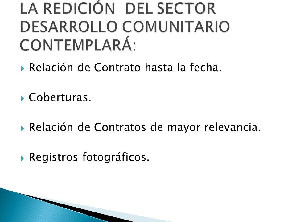 Relación de Contrato hasta la fecha. Coberturas. Relación de Contratos de mayor relevancia.
