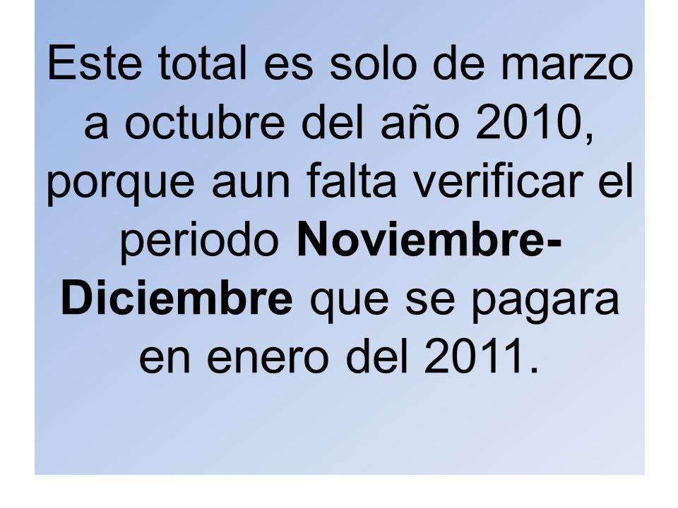 Este total es solo de marzo a octubre del año 2010, porque aun falta verificar el periodo Noviembre- Diciembre que se pagara en enero del 2011.