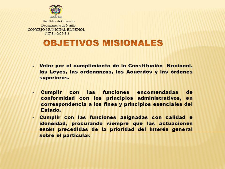 Velar por el cumplimiento de la Constitución Nacional, las Leyes, las ordenanzas, los Acuerdos y las órdenes superiores.
