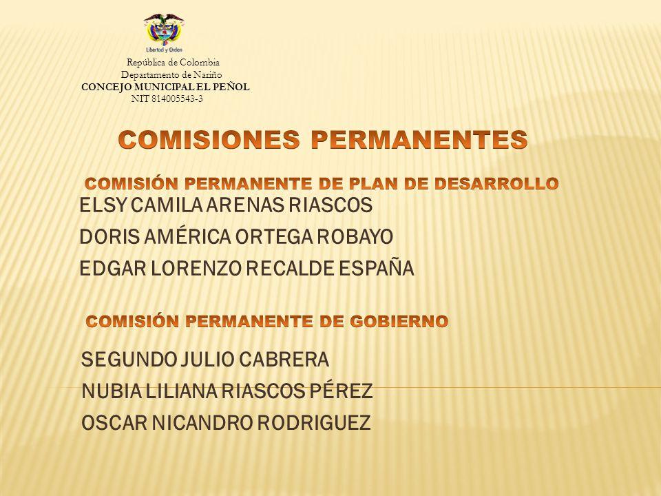 ELSY CAMILA ARENAS RIASCOS DORIS AMÉRICA ORTEGA ROBAYO EDGAR LORENZO RECALDE ESPAÑA República de Colombia Departamento de Nariño CONCEJO MUNICIPAL EL PEÑOL NIT 814005543-3 SEGUNDO JULIO CABRERA NUBIA LILIANA RIASCOS PÉREZ OSCAR NICANDRO RODRIGUEZ