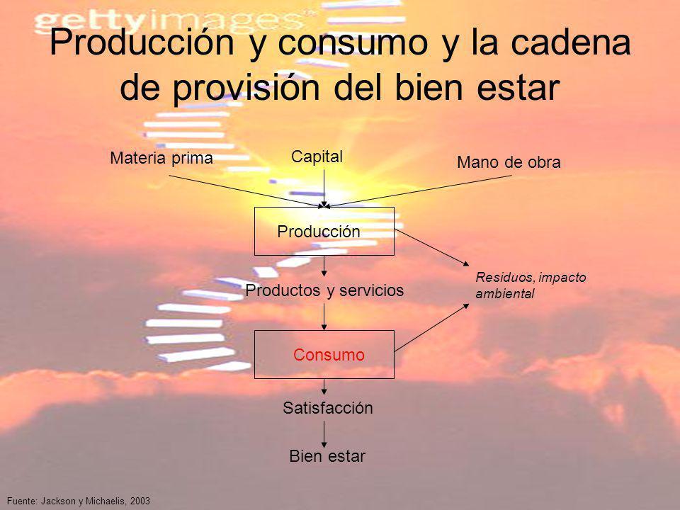 Producción y consumo y la cadena de provisión del bien estar Materia prima Capital Mano de obra Producción Productos y servicios Consumo Satisfacción