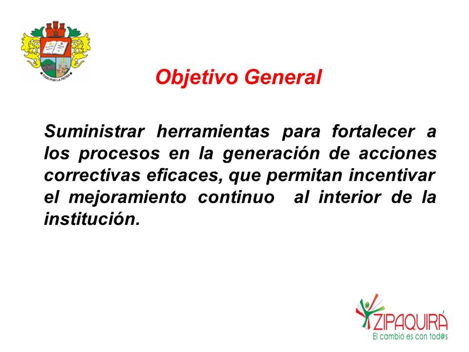 Objetivo General Suministrarherramientaspara fortalecera losprocesosenlageneracióndeacciones correctivas eficaces, que permitan incentivar elmejoramientocontinuoalinteriordela institución.