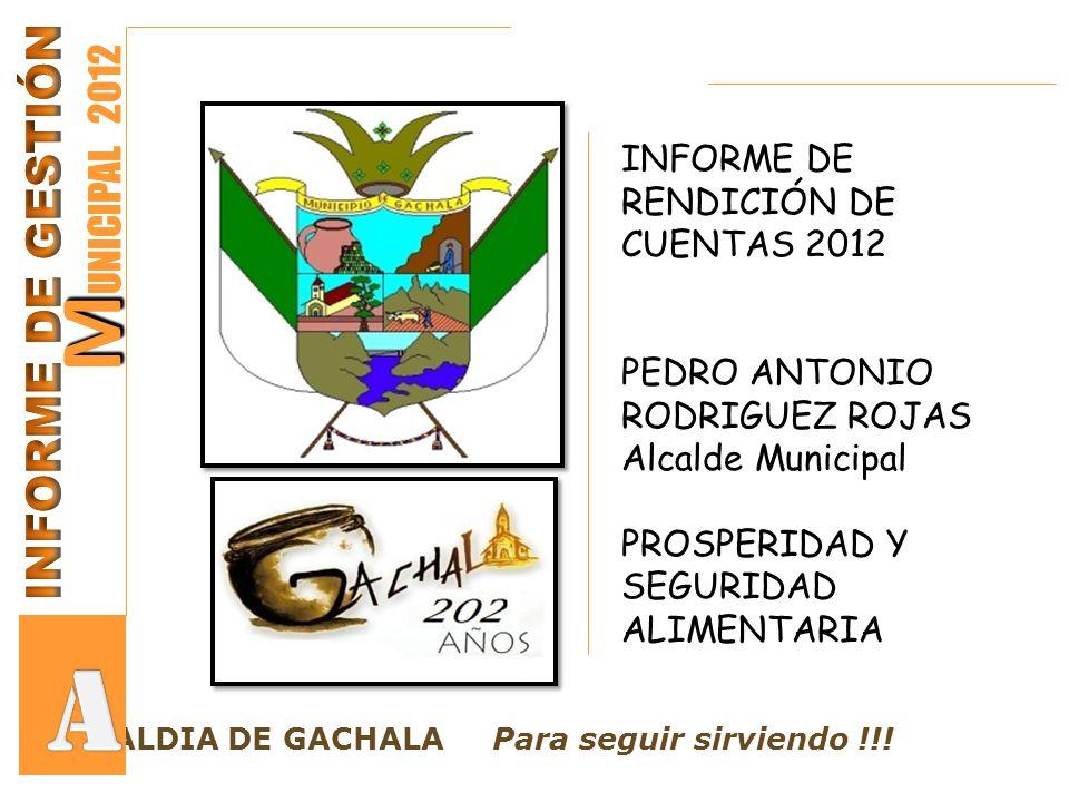 M M UNICIPAL 2012 LCALDIA DE GACHALA Para seguir sirviendo !!! M M UNICIPAL 2012 INFORME DE RENDICIÓN DE CUENTAS 2012 PEDRO ANTONIO RODRIGUEZ ROJAS Al