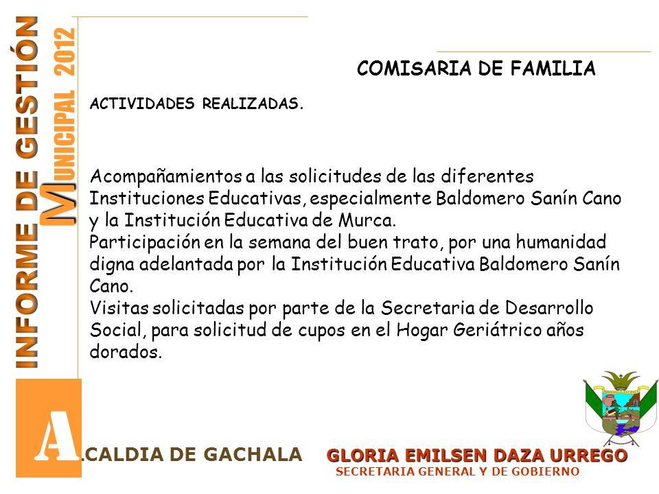 GLORIA EMILSEN DAZA URREGO LCALDIA DE GACHALA GLORIA EMILSEN DAZA URREGO SECRETARIA GENERAL Y DE GOBIERNO M M UNICIPAL 2012 A COMISARIA DE FAMILIA ACT