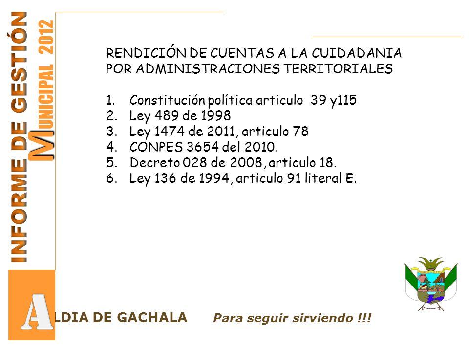 LCALDIA DE GACHALA Para seguir sirviendo !!! M M UNICIPAL 2012 RENDICIÓN DE CUENTAS A LA CUIDADANIA POR ADMINISTRACIONES TERRITORIALES 1.Constitución
