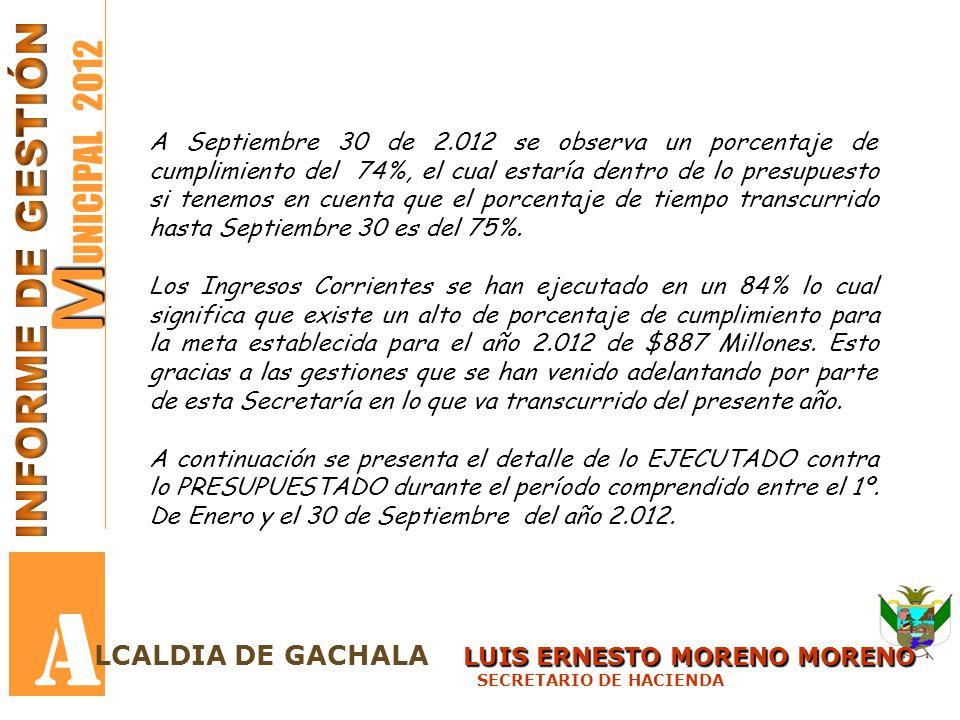M M UNICIPAL 2012 A A Septiembre 30 de 2.012 se observa un porcentaje de cumplimiento del 74%, el cual estaría dentro de lo presupuesto si tenemos en