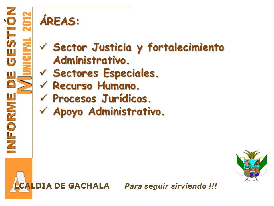 SECTOR JUSTICIA Y FORTALECIMIENTO ADMINISTRATIVO Realizar acciones pertinentes para conservar la convivencia y garantizar los Derechos Constitucionales de todos los Gachalunos.