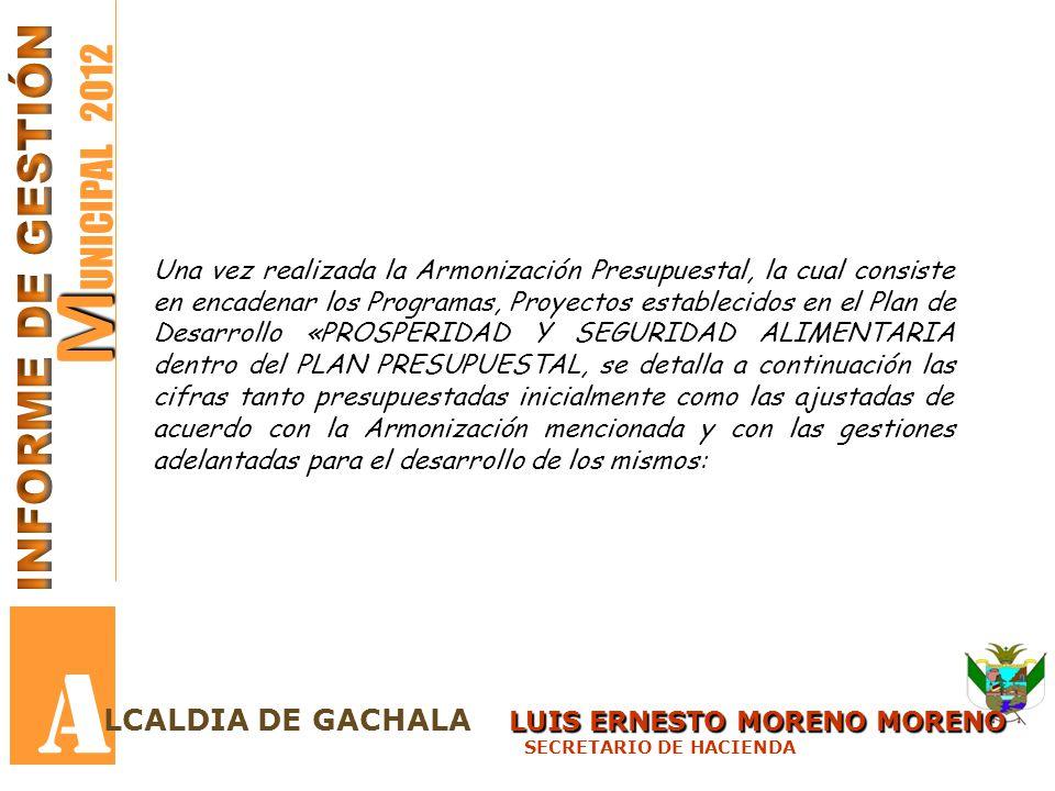 M M UNICIPAL 2012 A LUIS ERNESTO MORENO MORENO LCALDIA DE GACHALA LUIS ERNESTO MORENO MORENO SECRETARIO DE HACIENDA Una vez realizada la Armonización