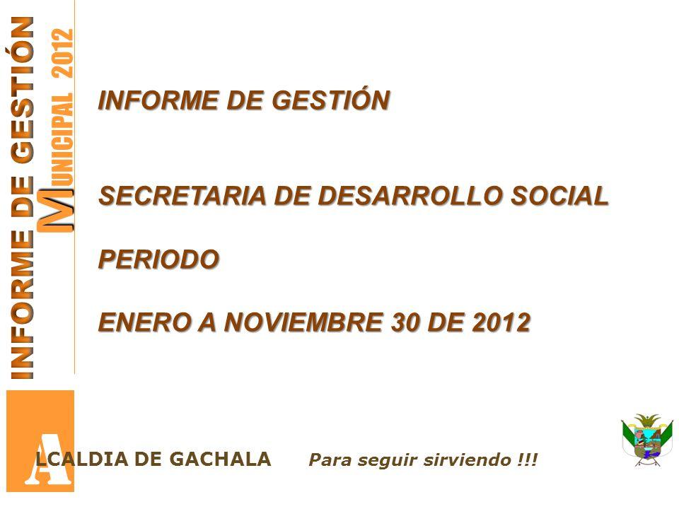 M M UNICIPAL 2012 A LCALDIA DE GACHALA Para seguir sirviendo !!! INFORME DE GESTIÓN SECRETARIA DE DESARROLLO SOCIAL PERIODO ENERO A NOVIEMBRE 30 DE 20