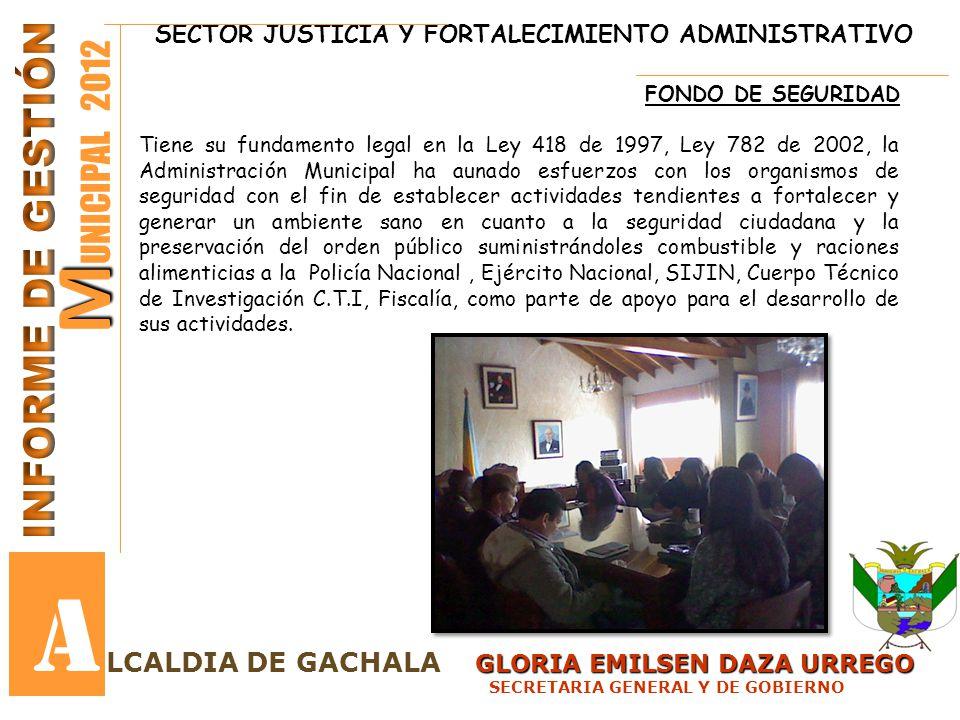 SECTOR JUSTICIA Y FORTALECIMIENTO ADMINISTRATIVO GLORIA EMILSEN DAZA URREGO LCALDIA DE GACHALA GLORIA EMILSEN DAZA URREGO SECRETARIA GENERAL Y DE GOBI