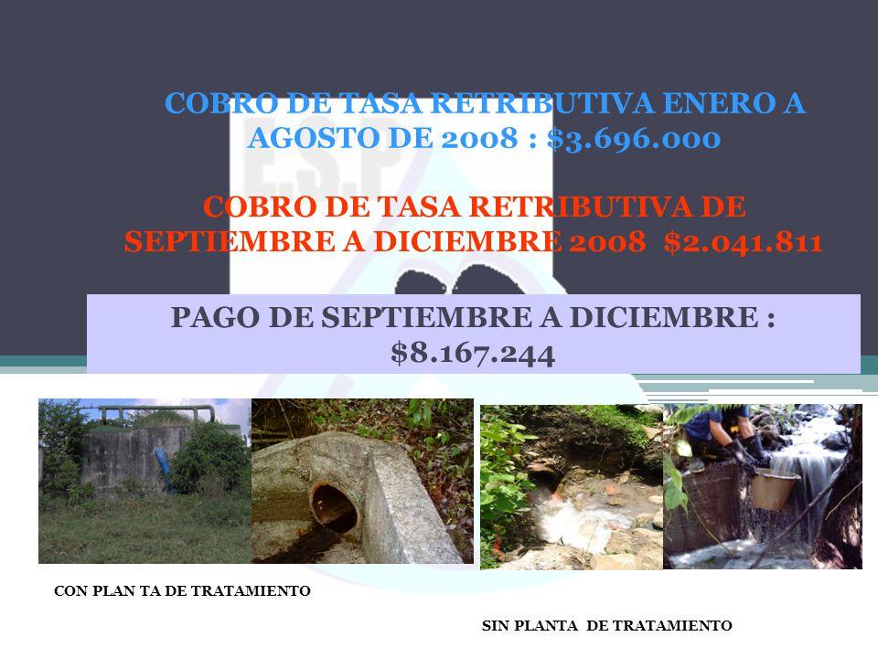 CON PLAN TA DE TRATAMIENTO SIN PLANTA DE TRATAMIENTO COBRO DE TASA RETRIBUTIVA ENERO A AGOSTO DE 2008 : $3.696.000 COBRO DE TASA RETRIBUTIVA DE SEPTIE