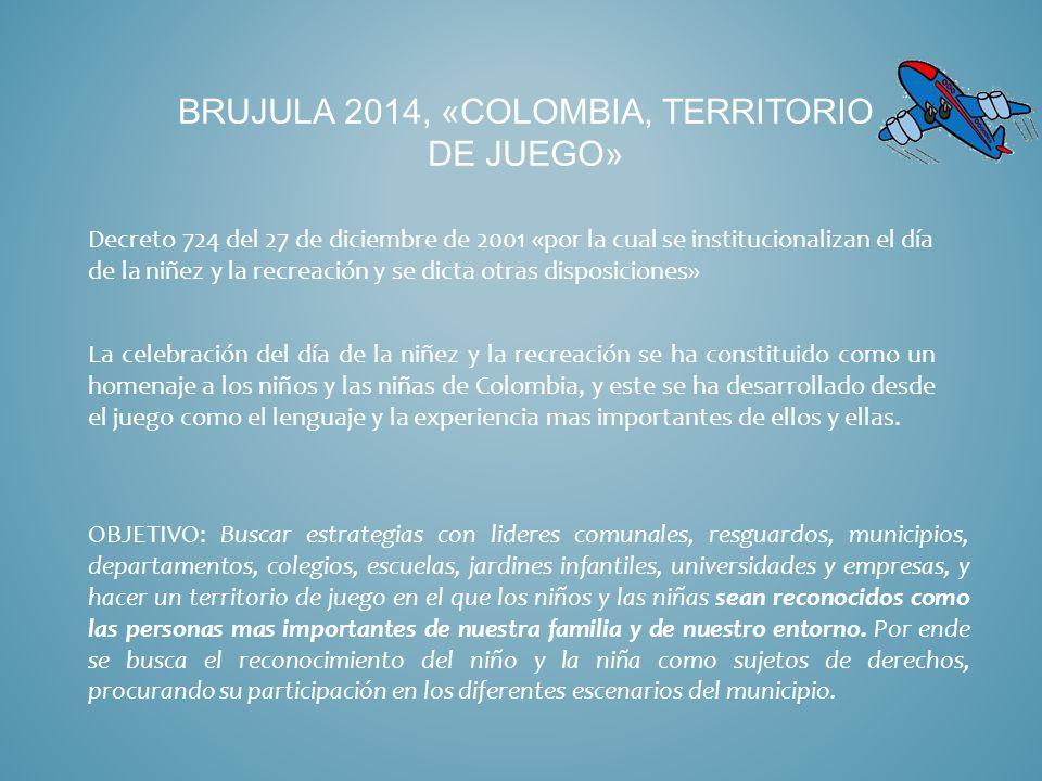 BRUJULA 2014, «COLOMBIA, TERRITORIO DE JUEGO» Decreto 724 del 27 de diciembre de 2001 «por la cual se institucionalizan el día de la niñez y la recreación y se dicta otras disposiciones» La celebración del día de la niñez y la recreación se ha constituido como un homenaje a los niños y las niñas de Colombia, y este se ha desarrollado desde el juego como el lenguaje y la experiencia mas importantes de ellos y ellas.