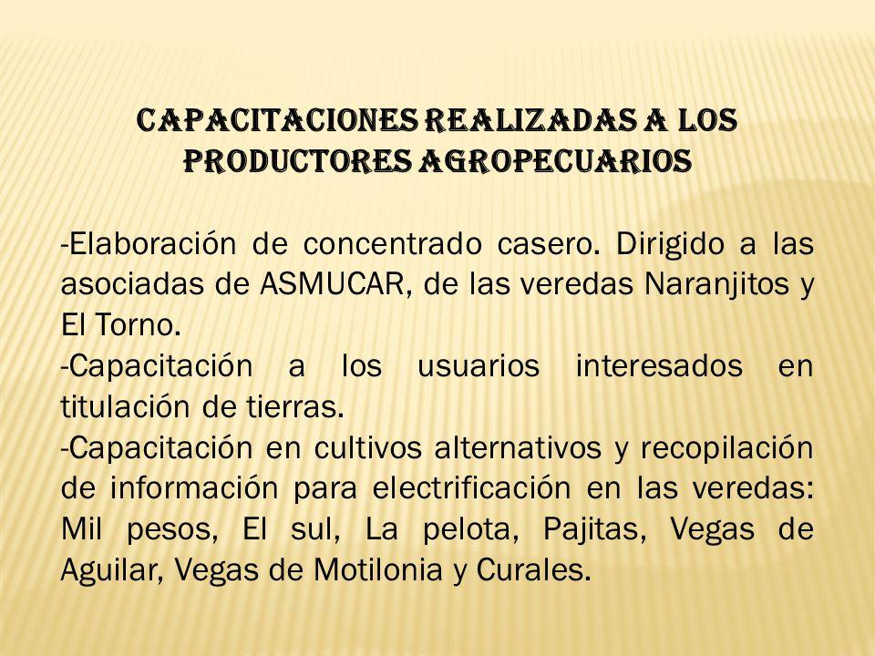 CAPACITACIONES REALIZADAS A LOS PRODUCTORES AGROPECUARIOS -Elaboración de concentrado casero. Dirigido a las asociadas de ASMUCAR, de las veredas Nara