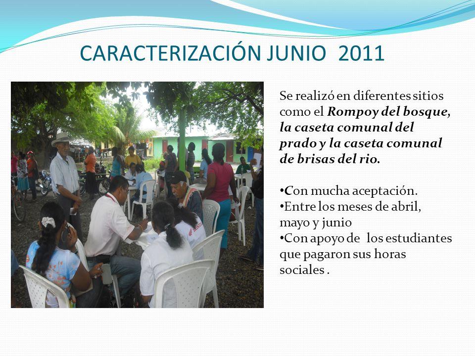 CARACTERIZACIÓN JUNIO 2011 Se realizó en diferentes sitios como el Rompoy del bosque, la caseta comunal del prado y la caseta comunal de brisas del rio.