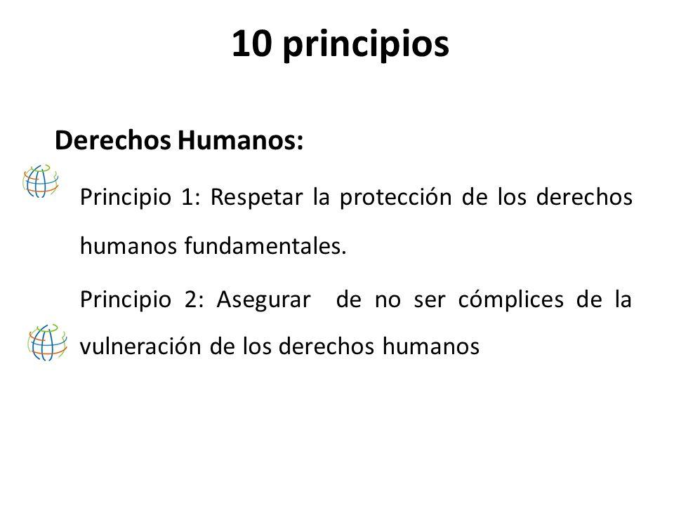 10 principios Estándares Laborales: Principio 3: Libertad de Asociación Principio 4: Eliminación de toda forma de trabajo forzoso Principio 5: Eliminación trabajo infantil.