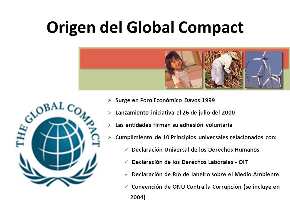 Que es Global Compact Una iniciativa voluntaria para promover el desarrollo sustentable y la ciudadanía corporativa.