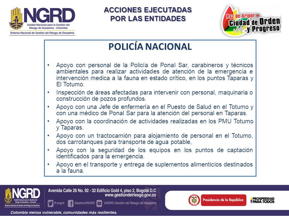 ACCIONES EJECUTADAS POR LAS ENTIDADES POLICÍA NACIONAL Apoyo con personal de la Policía de Ponal Sar, carabineros y técnicos ambientales para realizar