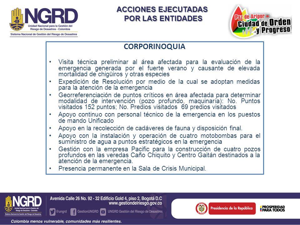 ACCIONES EJECUTADAS POR LAS ENTIDADES POR LAS ENTIDADES CORPORINOQUIA Visita técnica preliminar al área afectada para la evaluación de la emergencia g