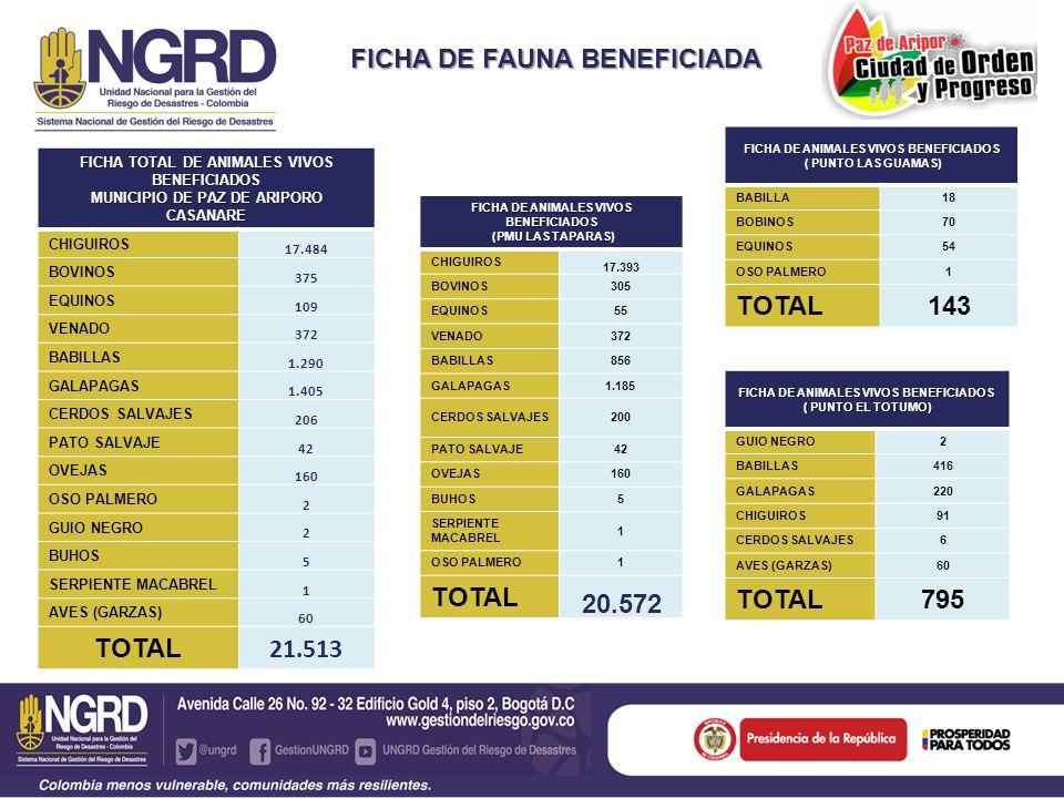 FICHA DE FAUNA BENEFICIADA FICHA TOTAL DE ANIMALES VIVOS BENEFICIADOS MUNICIPIO DE PAZ DE ARIPORO CASANARE CHIGUIROS 17.484 BOVINOS 375 EQUINOS 109 VE