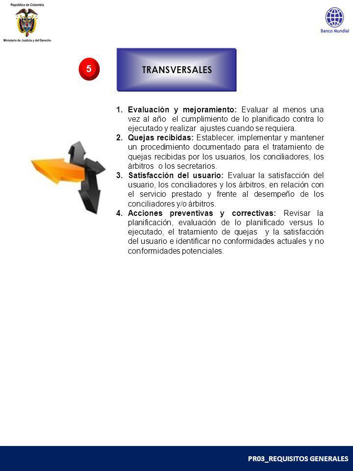 PR03_REQUISITOS GENERALES TRANSVERSALES 5 1.Evaluación y mejoramiento: Evaluar al menos una vez al año el cumplimiento de lo planificado contra lo eje