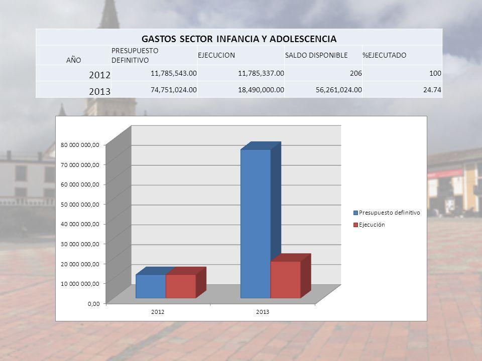 GASTOS SECTOR INFANCIA Y ADOLESCENCIA AÑO PRESUPUESTO DEFINITIVO EJECUCIONSALDO DISPONIBLE%EJECUTADO 2012 11,785,543.0011,785,337.00206100 2013 74,751