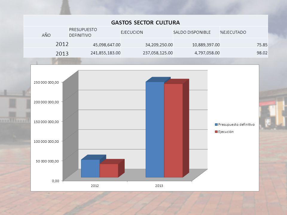 GASTOS SECTOR CULTURA AÑO PRESUPUESTO DEFINITIVO EJECUCIONSALDO DISPONIBLE%EJECUTADO 2012 45,098,647.0034,209,250.0010,889,397.0075.85 2013 241,855,18