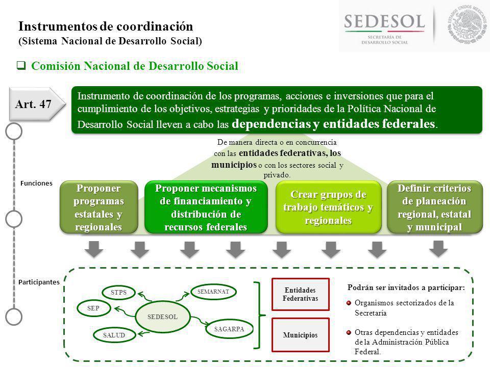 Instrumento de coordinación de las acciones del Ejecutivo Federal para garantizar la integralidad en el diseño y ejecución de la Política Nacional de Desarrollo Social.