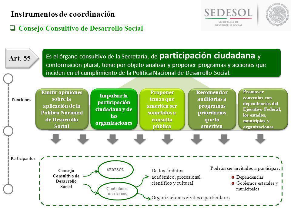 Es el órgano consultivo de la Secretaría, de participación ciudadana y conformación plural, tiene por objeto analizar y proponer programas y acciones