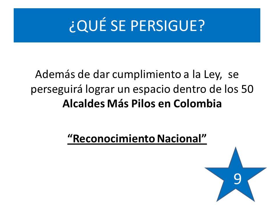 Además de dar cumplimiento a la Ley, se perseguirá lograr un espacio dentro de los 50 Alcaldes Más Pilos en Colombia Reconocimiento Nacional ¿QUÉ SE PERSIGUE.