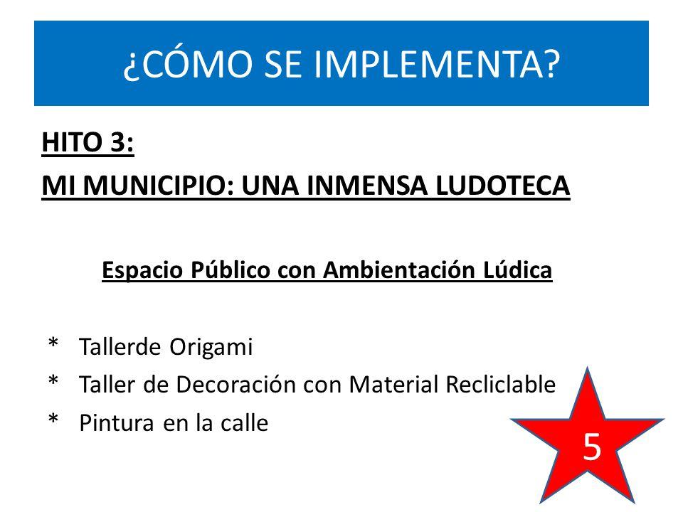 HITO 3: MI MUNICIPIO: UNA INMENSA LUDOTECA Espacio Público con Ambientación Lúdica * Tallerde Origami * Taller de Decoración con Material Recliclable * Pintura en la calle ¿CÓMO SE IMPLEMENTA.