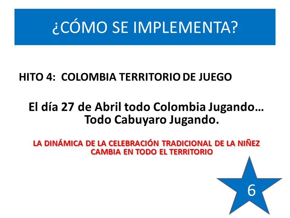 HITO 4: COLOMBIA TERRITORIO DE JUEGO El día 27 de Abril todo Colombia Jugando… Todo Cabuyaro Jugando.
