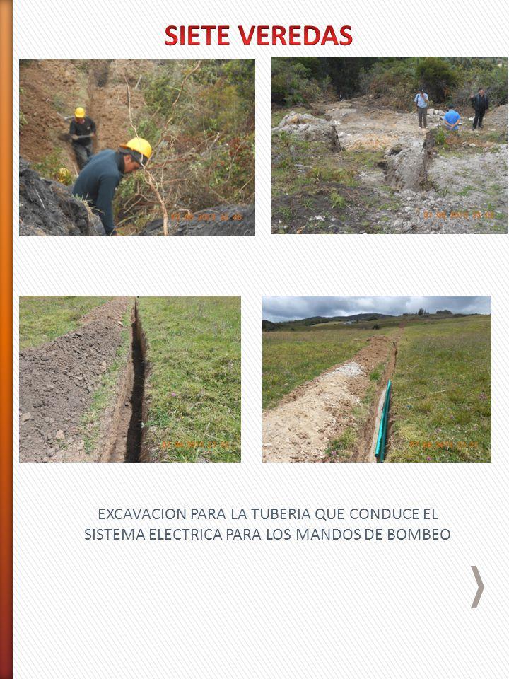 EXCAVACION PARA LA TUBERIA QUE CONDUCE EL SISTEMA ELECTRICA PARA LOS MANDOS DE BOMBEO
