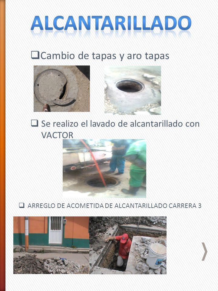 Cambio de tapas y aro tapas Se realizo el lavado de alcantarillado con VACTOR ARREGLO DE ACOMETIDA DE ALCANTARILLADO CARRERA 3