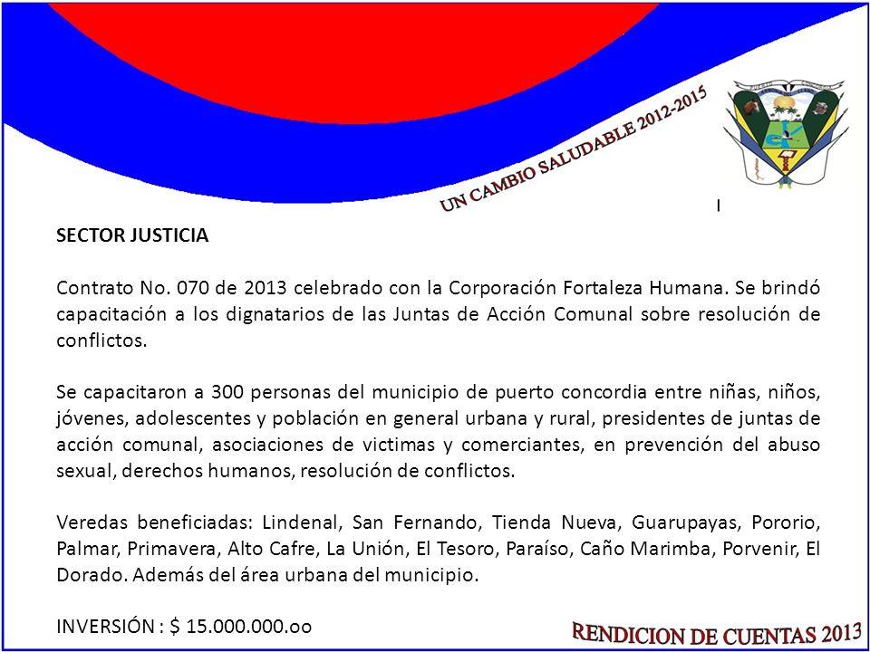 SECTOR JUSTICIA Contrato No. 070 de 2013 celebrado con la Corporación Fortaleza Humana. Se brindó capacitación a los dignatarios de las Juntas de Acci