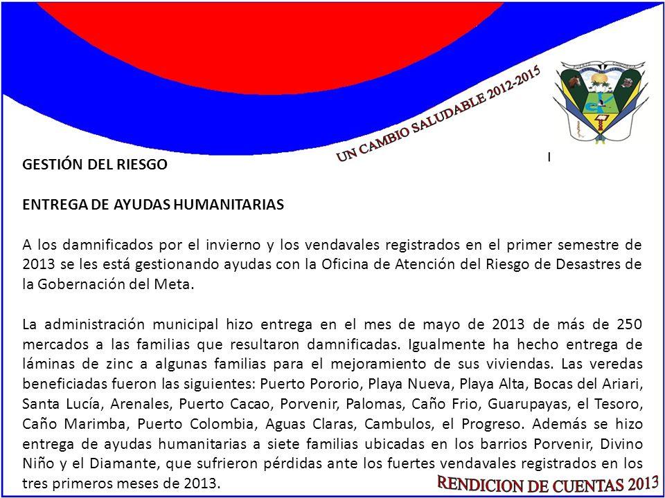 GESTIÓN DEL RIESGO ENTREGA DE AYUDAS HUMANITARIAS A los damnificados por el invierno y los vendavales registrados en el primer semestre de 2013 se les