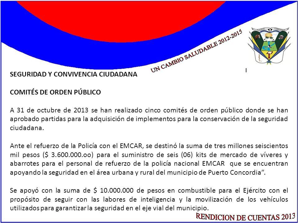 SEGURIDAD Y CONVIVENCIA CIUDADANA COMITÉS DE ORDEN PÚBLICO A 31 de octubre de 2013 se han realizado cinco comités de orden público donde se han aproba