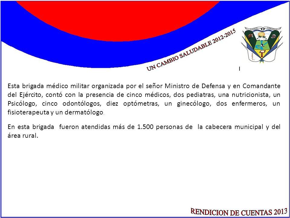 Esta brigada médico militar organizada por el señor Ministro de Defensa y en Comandante del Ejército, contó con la presencia de cinco médicos, dos ped