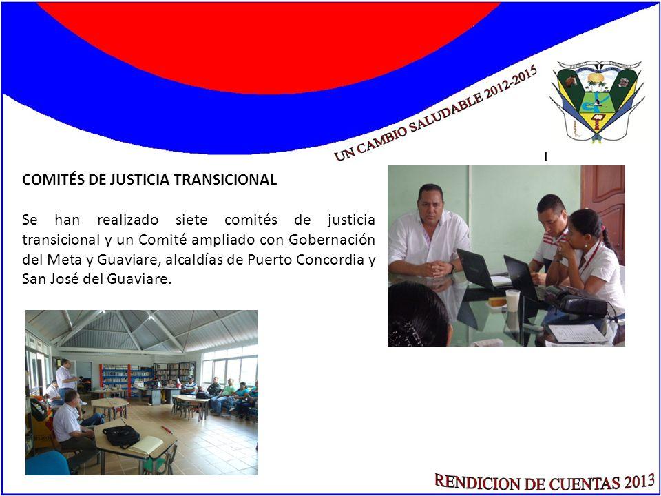 COMITÉS DE JUSTICIA TRANSICIONAL Se han realizado siete comités de justicia transicional y un Comité ampliado con Gobernación del Meta y Guaviare, alc