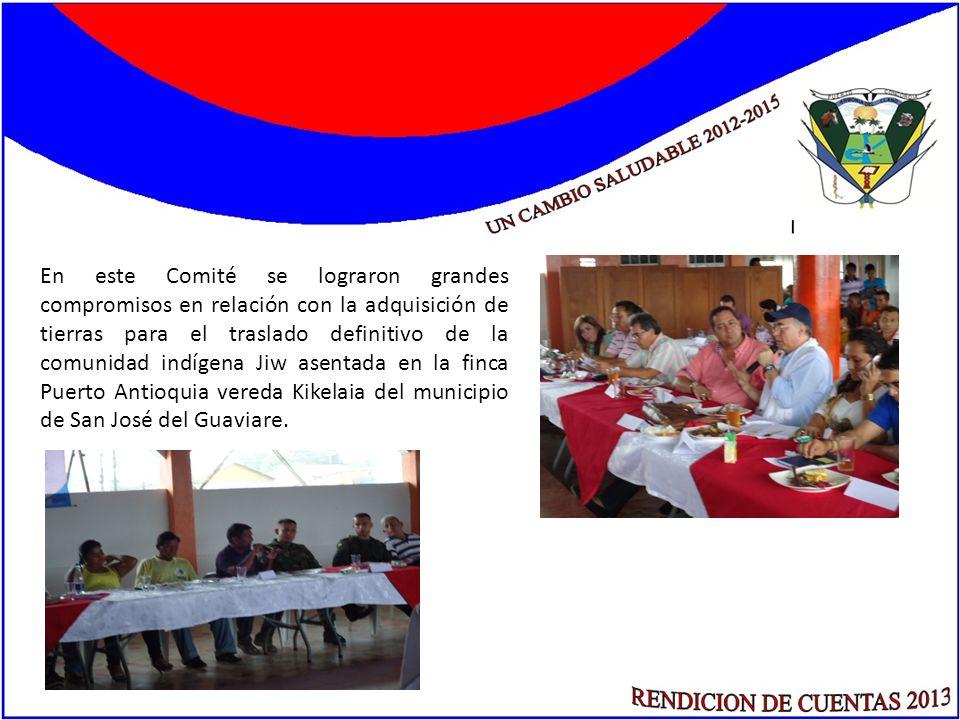 En este Comité se lograron grandes compromisos en relación con la adquisición de tierras para el traslado definitivo de la comunidad indígena Jiw asen