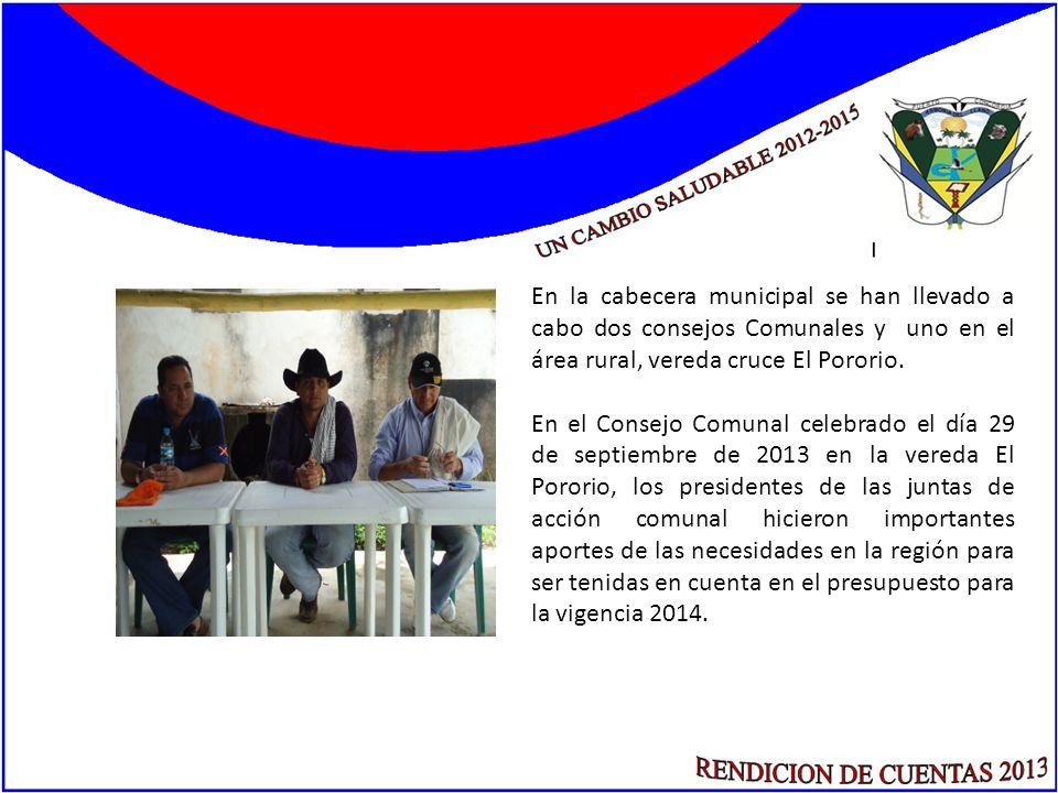 En la cabecera municipal se han llevado a cabo dos consejos Comunales y uno en el área rural, vereda cruce El Pororio. En el Consejo Comunal celebrado