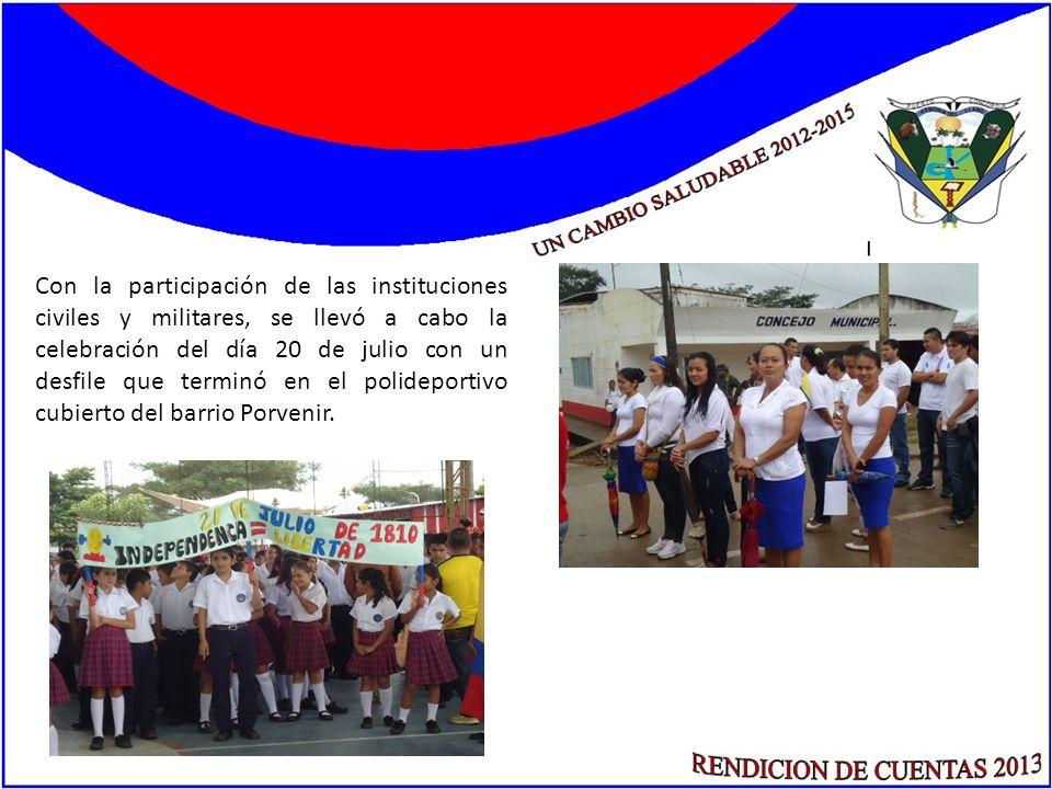 Con la participación de las instituciones civiles y militares, se llevó a cabo la celebración del día 20 de julio con un desfile que terminó en el pol