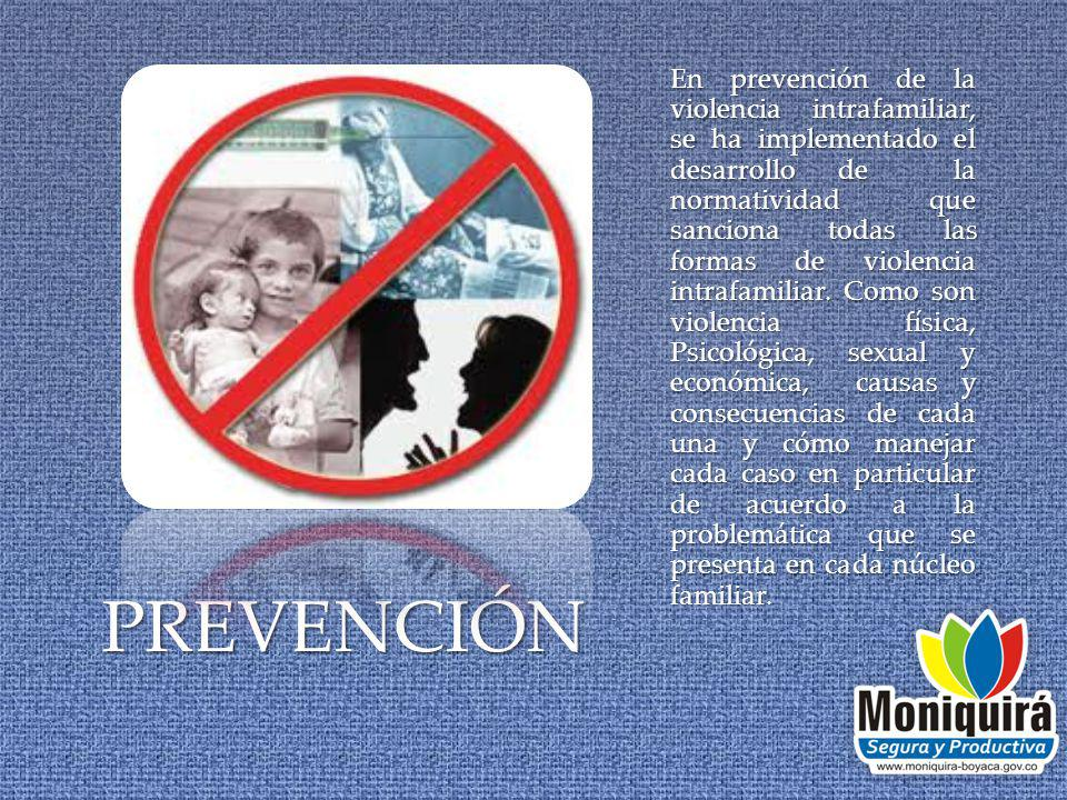 PREVENCIÓN En prevención de la violencia intrafamiliar, se ha implementado el desarrollo de la normatividad que sanciona todas las formas de violencia intrafamiliar.