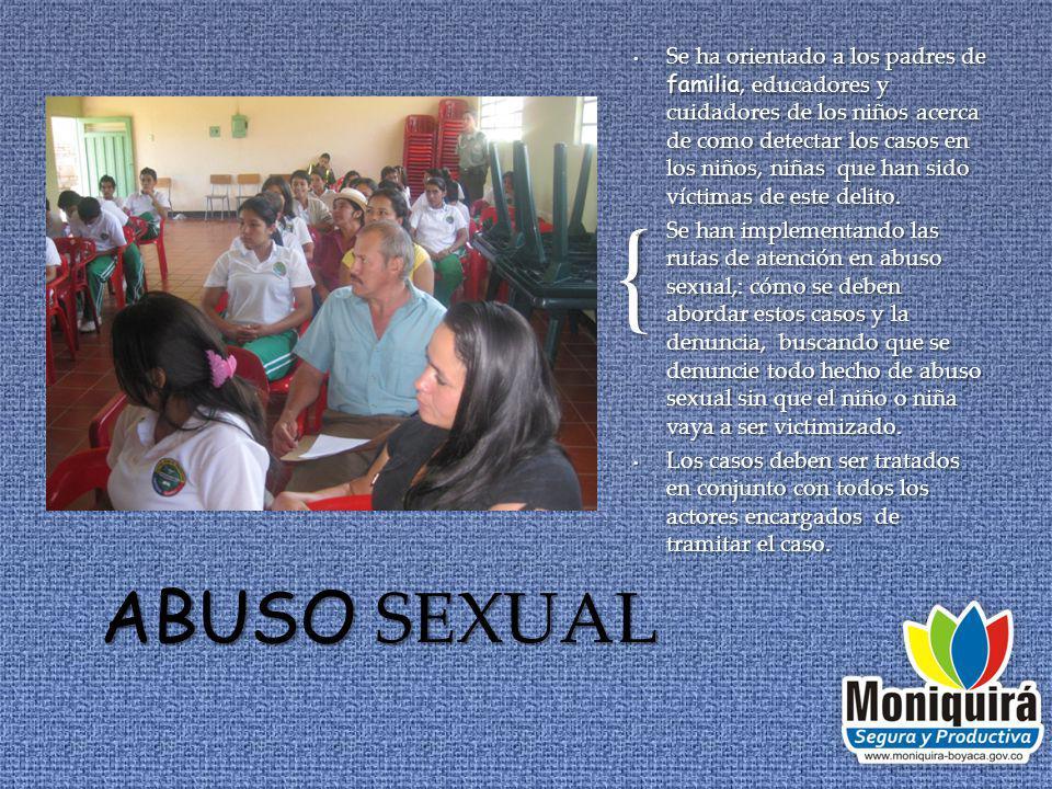 { Se ha orientado a los padres de familia, educadores y cuidadores de los niños acerca de como detectar los casos en los niños, niñas que han sido víctimas de este delito.