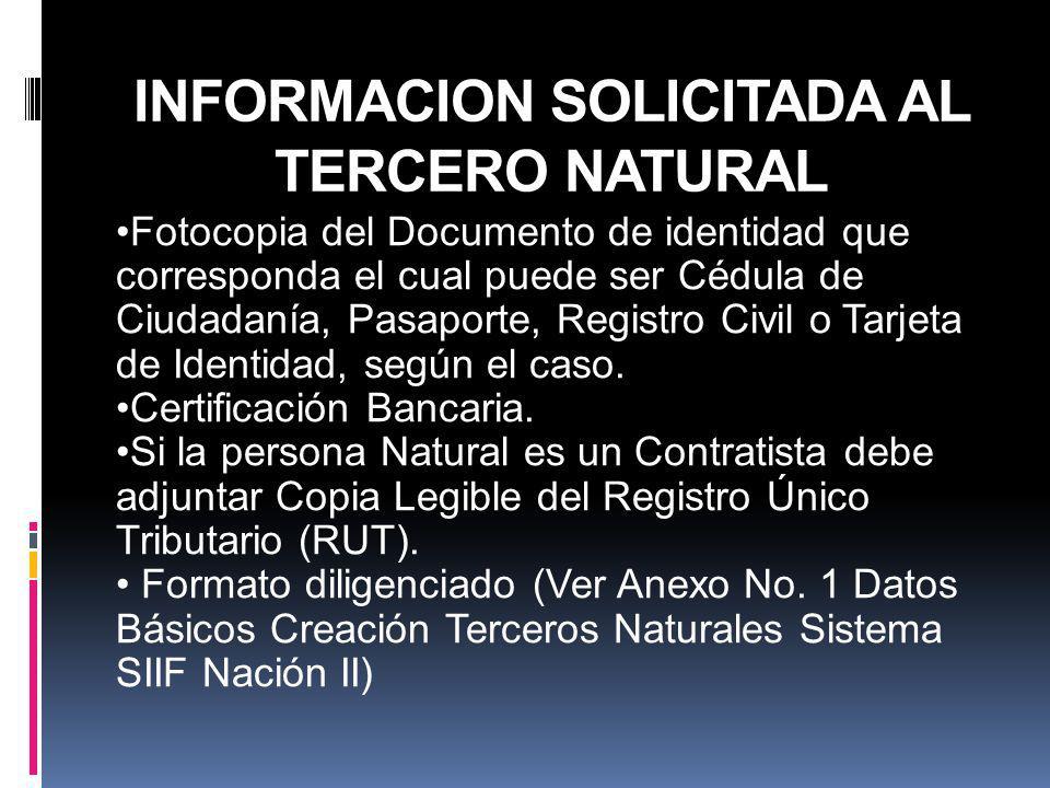 INFORMACION SOLICITADA AL TERCERO NATURAL Fotocopia del Documento de identidad que corresponda el cual puede ser Cédula de Ciudadanía, Pasaporte, Regi