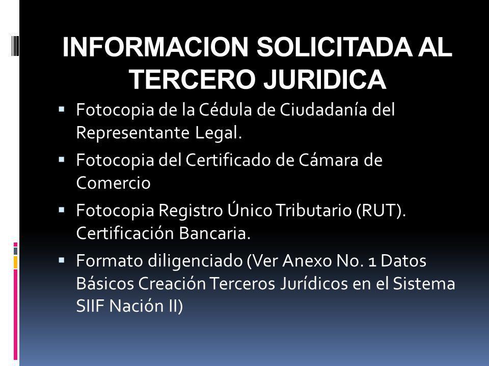 INFORMACION SOLICITADA AL TERCERO JURIDICA Fotocopia de la Cédula de Ciudadanía del Representante Legal. Fotocopia del Certificado de Cámara de Comerc