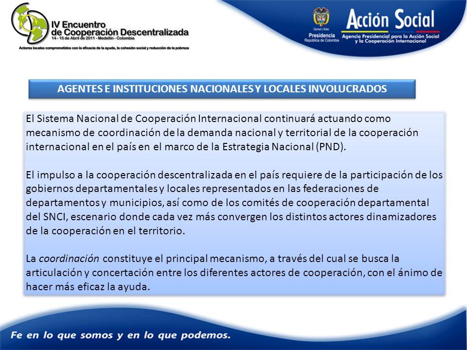 AGENTES E INSTITUCIONES NACIONALES Y LOCALES INVOLUCRADOS El Sistema Nacional de Cooperación Internacional continuará actuando como mecanismo de coordinación de la demanda nacional y territorial de la cooperación internacional en el país en el marco de la Estrategia Nacional (PND).