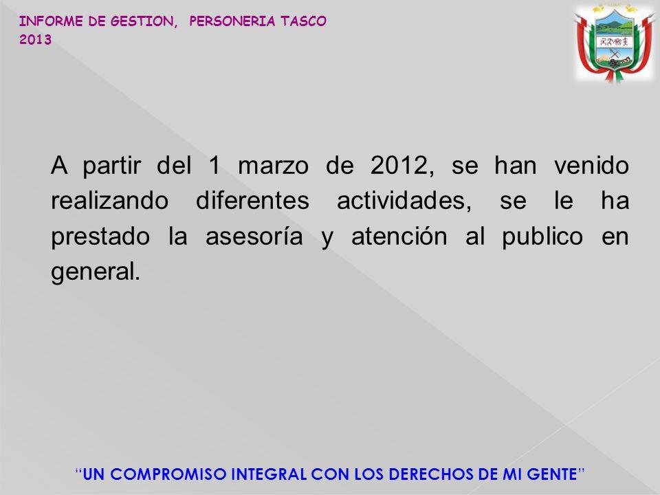A partir del 1 marzo de 2012, se han venido realizando diferentes actividades, se le ha prestado la asesoría y atención al publico en general.